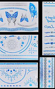 5pcs Blue Silver Butterfly Chain Necklaces Bracelet Temporary Flash Metallic Tattoos Sticker Waterproof