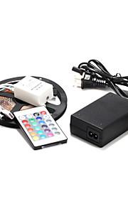 5m 60 × 2835smd RGB LED stripe lys og 24key fjernkontroll og 12V strømforsyning