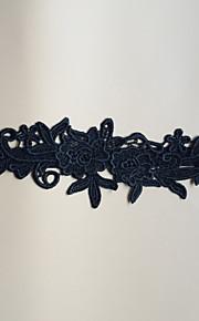 Garter Stretch Satin Flower Black