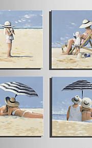 ビーチ純粋手持ちのミニサイズe-ホーム油絵現代の余暇時間は、フレームレス装飾画を描きます