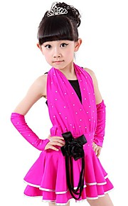 Latin Dance Outfits Children's Performance Spandex Sequins 4 Pieces Fuchsia / Light Green