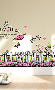 Wall Stickers Wall Decals, Beautiful Fence Garden Happy Tree PVC Wall Sticker