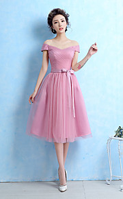 Tea-length Tulle Bridesmaid Dress-Blushing Pink / Silver Ball Gown Off-the-shoulder