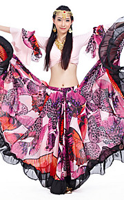 Belly Dance Outfits Women's Performance Chiffon Satin / Polyester Pattern/Print / Ruffles 2 Pieces Pink / Red