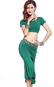 Belly Dance Outfits Women's Training Modal Draped 2 Pieces Black / Hunter Green / Burgundy / Light Gray