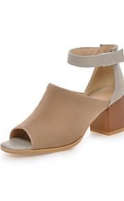 Черный / Миндальный-Женская обувь-Для праздника / На каждый день-Дерматин-На толстом каблуке-С открытым носком / С ремешком на лодыжке-
