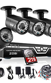 Zosi @ 4ch 1080p hdmi dvr 2tb hdd 4xoutdoor 2.0MP waterdichte-ir cut bullet camera security kit CCTV systemen