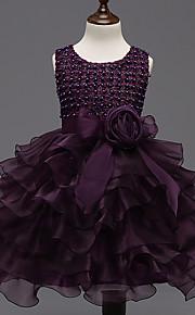 Robe de Soirée Longueur Genou Robe de Demoiselle d'Honneur Fille - Organza Satin Bijoux avecNoeud(s) Fleur(s) Détail Perle Ceinture /