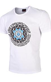 남성의 캐쥬얼 / 스포츠 / 플러스 사이즈 티셔츠 짧은 소매 프린트 / 문자 면