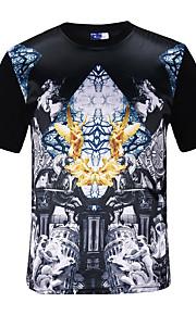 Heren Street chic Actief Punk & Gothic T-shirt,Casual/Dagelijks Feestje/cocktail Club Print Ronde hals Korte mouw Polyester