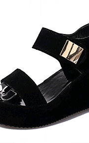 Черный / Белый-Женская обувь-Для прогулок / На каждый день-Дерматин-На платформе-Криперы-Сандалии