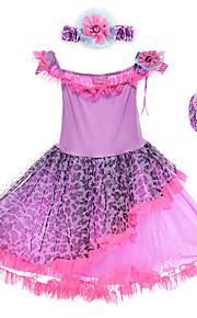 Performance Dresses Children's Performance Spandex / Polyester Flower(s) / Leopard 2 Pieces Purple