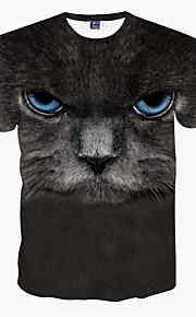 남성의 캐쥬얼 티셔츠 짧은 소매 프린트 폴리에스테르