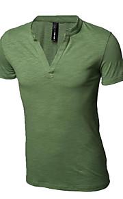 남성의 캐쥬얼 / 스포츠 티셔츠 짧은 소매 퓨어 면