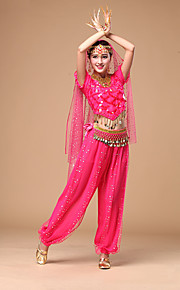 Belly Dance Women's Fashion Performance Chiffon Sequins 4 Pieces Outfits