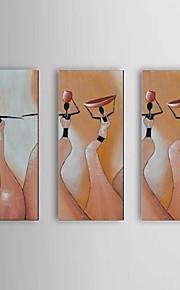käsinmaalattu Kaakkois afrikkalainen naiset öljymaalaus 3 kpl / asetetaan seinälle venytetty runko