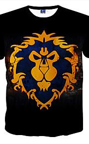 남성의 캐쥬얼 / 정장 / 스포츠 / 플러스 사이즈 티셔츠 짧은 소매 프린트 폴리에스테르