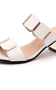 Women's Shoes PU Chunky Heel Open Toe Sandals Outdoor / Dress / Casual Black / White