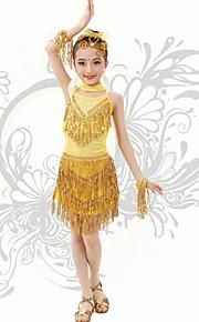 Latin Dance Children's Performance Spandex Sequins / Tassel(s) Strap Backless Dresses