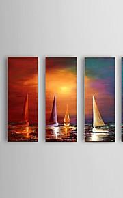 Håndmalte Landskap Moderne,Fem Paneler Hang malte oljemaleri