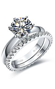 klassische Diamantringe für Frauen 1.5Ct Verlobungsring Solitär 0.55ct Hochzeit Band Infinity steling Silberringe gesetzt