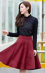 Women's Solid Red / Black Skirts,Work Knee-length