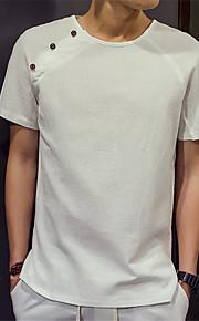 Katoen-Effen-Heren-T-shirt-Informeel / Werk / Formeel-Korte mouw