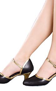 Women's Dance Shoes Belly / Latin / Dance Sneakers / Modern / Swing Shoes / Salsa / Leather Cuban Heel Black / Gold