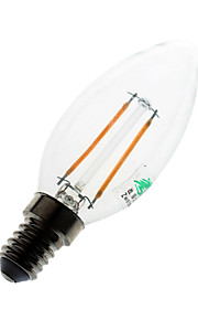 2W E14 LED-lysestakepærer C35 2 COB 180 lumens lm Varm hvit Dekorativ AC 220-240 V 1 stk.