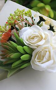 Wedding Flowers Hand-tied Roses / Peonies Wrist Corsages Wedding Beige Satin