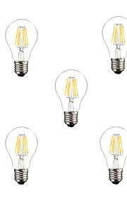 6W E26/E27 Ampoules à Filament LED A60(A19) 6 COB 500lm lm Blanc Chaud / Blanc Froid Gradable / Décorative AC 100-240 / AC 110-130 V5