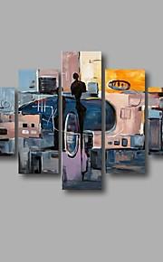 Maalattu Abstrakti Moderni,5 paneeli Kanvas Hang-Painted öljymaalaus
