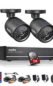 sannce® 4 canais full 960H CCTV gravador de vídeo vigilância dvr 800tvl câmeras CCTV sistema integrado de 1TB