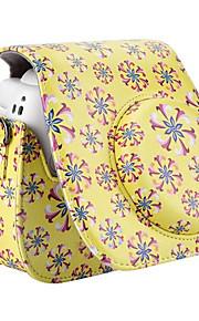 pu læder blomstermønster tilfælde taske til Fujifilm instax mini 8 øjeblikkelig filmkamera, gul