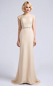 Lanting Bride Sweep / Brush Train Chiffon Bridesmaid Dress Trumpet / Mermaid Jewel with Lace