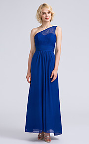 Lanting Bride Ankle-length Chiffon / Lace Bridesmaid Dress Sheath / Column One Shoulder with Lace / Ruching