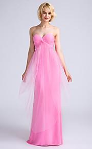 Lanting Bride Floor-length Satin / Tulle Bridesmaid Dress Sheath / Column Sweetheart with Criss Cross