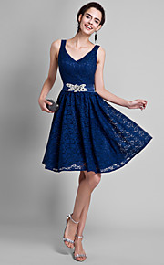 Lanting Bride Knee-length Lace Bridesmaid Dress A-line V-neck with Lace / Crystal Detailing