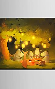 E-HOME® Stretched LED Canvas Print Art Animals Under The Tree LED Flashing Optical Fiber Print One Pcs