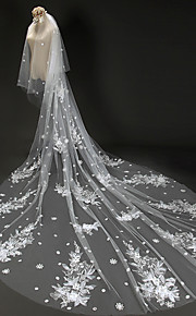 Véus de Noiva Duas Camadas Véu Catedral Corte da borda Tule / Renda Marfim Marfim