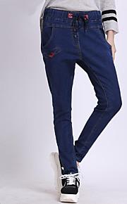 Women's Solid Blue Jeans Pants,Plus Size