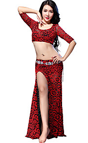 Belly Dance Outfits Women's Training Lace Lace 2 Pieces Fuchsia / Red Belly Dance Half Sleeve Natural