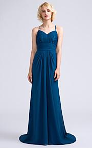 Lanting Bride Sweep / Brush Train Chiffon / Lace Bridesmaid Dress Sheath / Column Spaghetti Straps with Draping