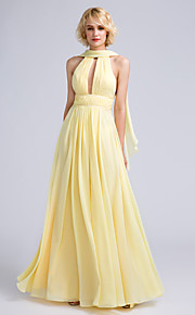 Lanting Bride Floor-length Chiffon Bridesmaid Dress A-line Jewel with Beading / Draping