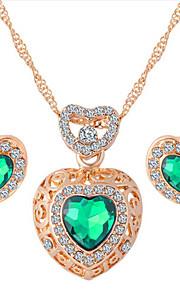мода горный хрусталь венчания Бижу комплектов ювелирных изделий сердца кристаллические формы серьги ожерелья для женщин