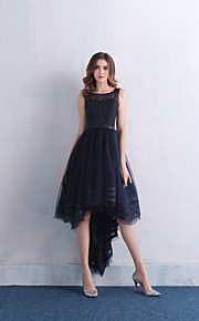 Cocktail Party Dress Ball Gown Scoop Asymmetrical Lace / Satin / Tulle with Beading / Lace