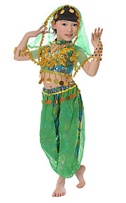 Belly Dance Outfits Children's Performance Chiffon / Sequined Sequins 5 Pieces Green / Red / Yellow