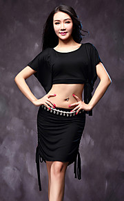 Belly Dance Outfits Women's Performance Modal Pleated 3 Pieces Black / Blue / Pink / Khaki Belly Dance Short Sleeve