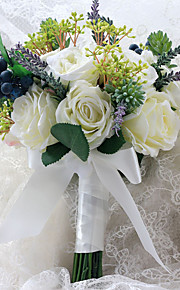 Wedding Flowers Free-form Roses / Peonies / Lavenders Birdal Bouquets Wedding Multi-color Satin