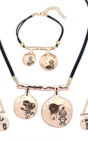 European Style Fashion Simple Metal Music Girl Necklace Bracelet Earring Set